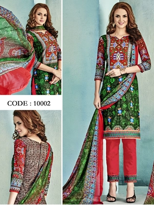 Picture of 10002Green and Red Latest Fancy Salwar Suit