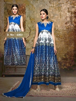 Picture of 6003Royal Blue and White Exclusive Designer Anarkali Suit