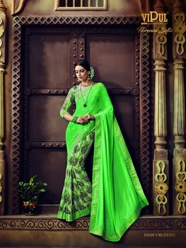 Picture of 19109BrightGreen Traditional Casual Wear Saree