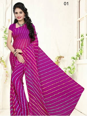 Picture of 01 Purple Exclusive Diamond Chiffon Lahariya Sarees