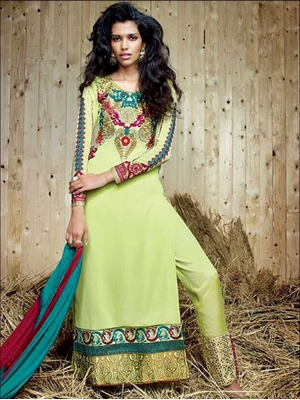 Picture of 9052YellowGreen Exclusive Designer Straight Suit