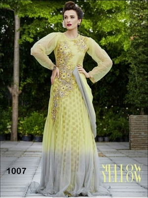 Picture of 1007MellowYellow Designer Wedding Wear Gown