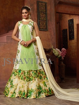 Picture of 1002PistaGreen and Multicolor Fancy Function Wear Designer Suit