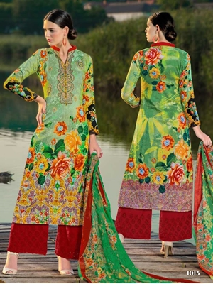 Picture of 1013 Green Designer Palazzo Suit