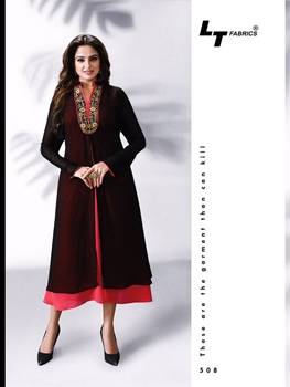 Picture of 508Black and Red Exclusive Party Wear Georgette Kurti