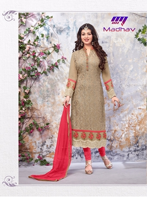 Picture of 6004Burlywood Designer Occasion Wear Long Designer Straight Suit