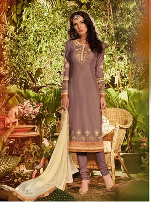Picture of BOD 805CopperBrown Occasional Wear Long Designer Straight Suit