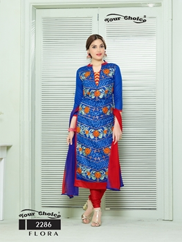 Picture of 2286DarkBlue Designer Fancy Exclusive Occassional Wear Straight Suit