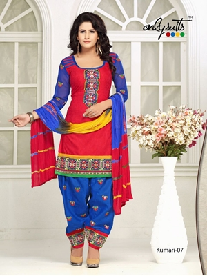 Picture of 07DarkBlue and Red Designer Fancy Occasion Wear Satin Cotton Jacquard Salwar Suit