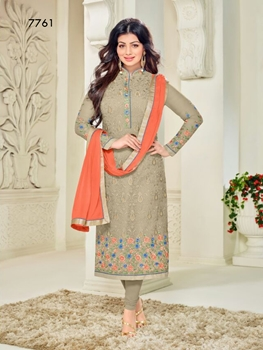 Picture of 7761Almond Designer Occasion Wear Georgette Straight Suit