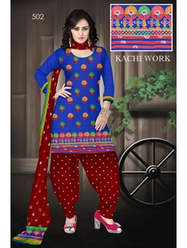 Picture of 502Blue Designer Exclusive Fancy Daily Wear Cotton Salwar Suit