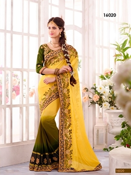 Picture of 16020Yellow and OliveGreen Designer Ethnic Wedding Wear Saree