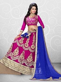 Picture of 8083DarkMagenta Designer Fancy Exclusive Ethnic Wedding Wear Unstitched Lehenga Choli at Wholesale Rate
