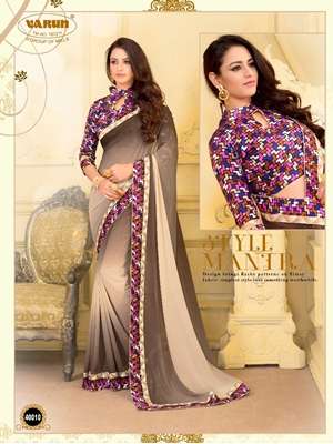Picture of 40010Brown Traditional Fancy Function Wear Designer Saree with Blouse Piece