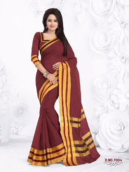 Picture of 7004Brown and Golden Designer Function Wear Saree