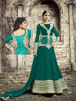 Picture of 005 Designer Sea Green and Golden Embroidered Georgette Semistitched Wedding Wear Fancy Anarkali Suit