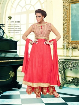 Picture of 1006Designer CarrotRed and Golden Heavy Net Party Wear Semistitched Designer Suit