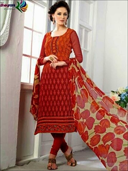 Picture of 501Red Georgette with Schiffli and Embroidery Work Party Wear Straight Suit