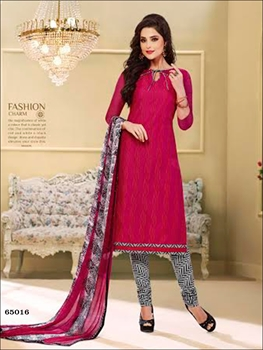 Picture of 65016 Deep Pink and Multicolor Chudidar Suit