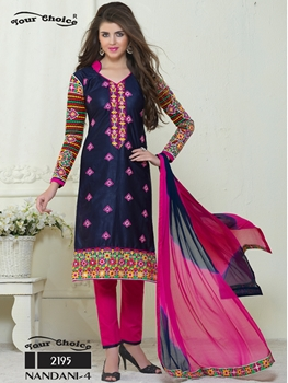 Picture of 2195 Dark Blue and Deep Pink Embroidered Glace Cotton Ocassional Wear Straight Suit