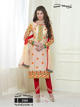 Picture of 2188Cream and Red Embroidered Glace Cotton Ocassional Wear Straight Suit