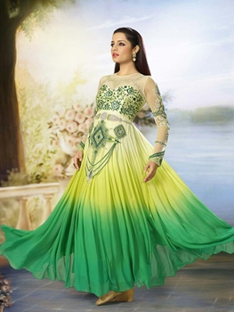 Picture of 8005LemonYellow and Green Embroidered Georgette and Net Wedding Wear Anarkali Suit
