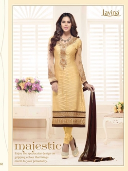 Picture of 25002Beige and KhakiBrown Embroidered Brasso Party Wear Straight Suit