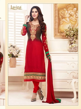 Picture of 25001Green and Red Embroidered Brasso Party Wear Straight Suit