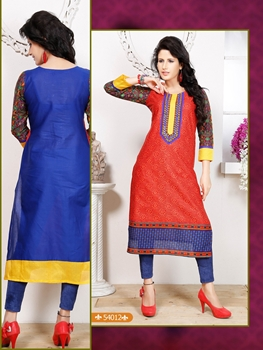Picture of 54012Red and NavyBlue Embroidered Printed Cotton Party Wear Stitched Kurti