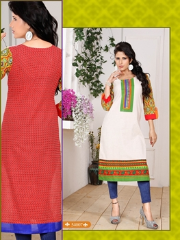 Picture of 54007White and Green Embroidered Printed Cotton Party Wear Stitched Kurti