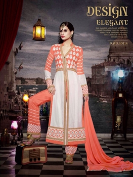 Picture of 10114 Carrot Orange and Ivory Faux Georgette Designer Suit