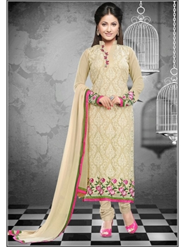 Picture of 1115Beige and HotPink Georgette Straight Suit