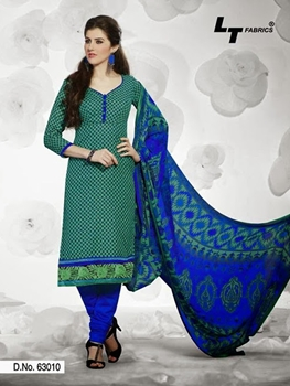 Picture of 63010 Sea Green and Blue Cotton Straight Suit