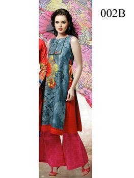 Picture of 002B SteelBlue and Pink Lawn Cotton Chudidar Suit