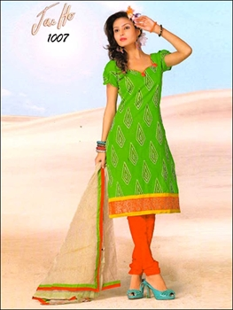 Picture of 1007ParrotGreen and CarrotRed Chanderi Chudidar Suit