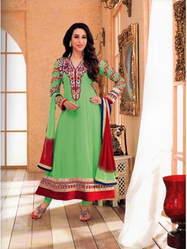 Picture of 1003LightGreen and Red Georgette Anarkali Suit