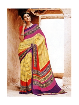Picture of 34006Red and MustardYellow Crape Saree