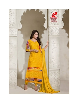 Picture of 3676GoldenYellow Chiffon Straight Suit