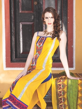 Picture of 0775A Yellow and Blue Cotton Jacquard Straight Suit