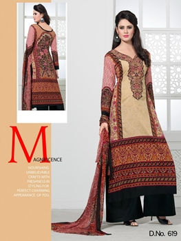 Picture of 619SandyBrown Black and DeepPink Lawn Cotton Straight Suit