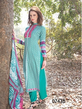Picture of 0743B SeaGreen and DarkMagenta Satin Cotton Straight Suit