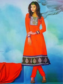 Picture of 1006 Orange Red and Deep Pink Georgette Anarkali Suit