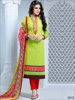 Picture of 0015 Green Yellow and Red Cambric Cotton Straight Suit