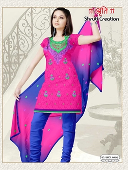 Picture of 1002 Magenta and RoyalBlue Georgette Jacquard Dress Material