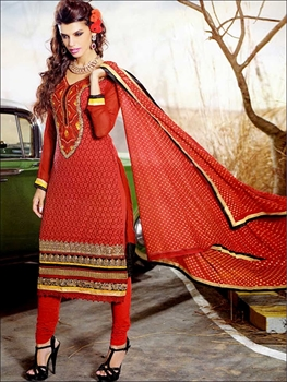 Picture of 1004Red and Black Georgette Straight Suit