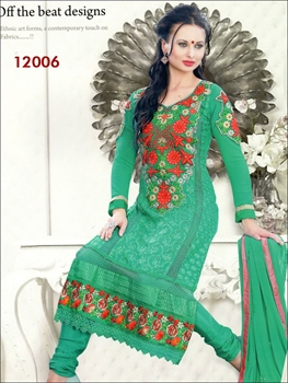 Picture of 12006Red and SeaGreen Georgette Straight Suit