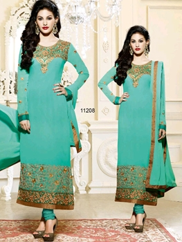 Picture of 11208Aqua Green And Golden Straight Suit