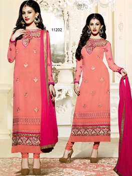 Picture of 11202 Peach And Magenta Straight Suit