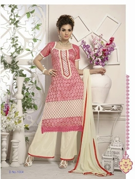 Picture of LightMagenta and Beige Designer Heavy Chanderi with Embroidered Plazo