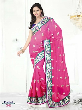 Picture of 5001 Pink and Green Designer Saree